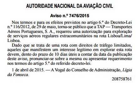 ANAC rota Lisboa LIS Lima LIM